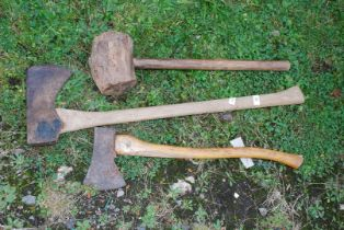 Two axes and a mallet.