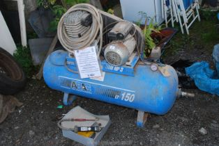 ABAC 150 litre Compressor with air gun and gauge.