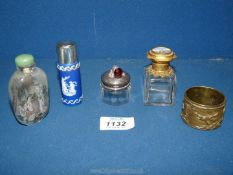 A small quantity of dressing table items including gilt and glass scent bottle with painted foreign