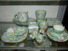 A Shelley 'Melody' breakfast set including; a cruet set, butter dish, marmalade jar,
