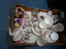 A quantity of china including; Welsh Commemorative cups & saucers, Poole plates, Aynsley posy,