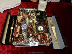 A quantity of watches and jewellery including a silver Celtic style pendant, beads, Sekonda, Rotary,