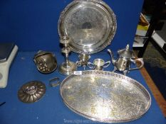 Miscellaneous silver plated items including a small coffee pot, sucrier & milk jug,