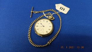 A hallmarked silver pocket watch and chain