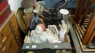 A Decoupage lady on slate and other assorted items