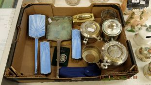 A hallmarked silver dress table set and a qty of silver plate