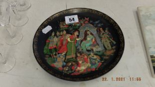 Two colourful wall plates, oriental,