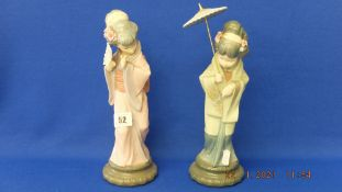 Two Lladro oriental lady figures