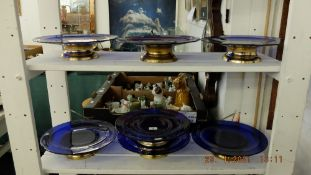 Seven blue glass comports