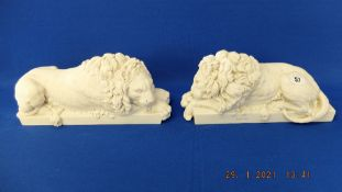 A pair of Chatsworth marble Lions