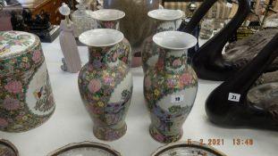 Four Canton style vases