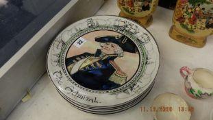 Eight Royal Doulton character plates