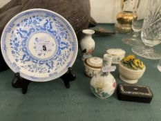 A Minton plate on stand and seven small items
