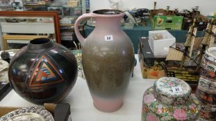 A West German Ewer, pink and grey, good condition,