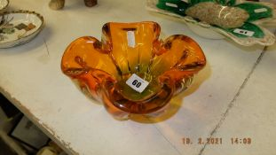 A vintage 1970's Orange and Green heavy glass ashtray and a Murano bowl