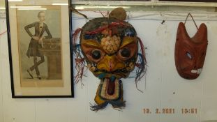 A Chinese mask, painted,