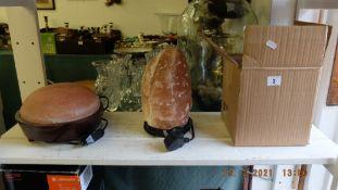 Three assorted rock salt lamps