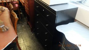 A painted chest of five drawers
