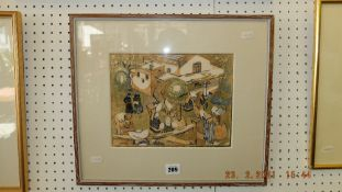 An early 20th century framed and glazed colour woodcut
