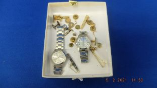 A small qty of costume jewellery and two watches