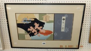 A framed and glazed Japanese print