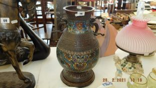 A 19th century bronze cloisonne Chinese vase, some damage,