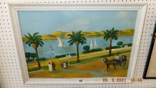 A framed oil on canvas 'Banks of Nile', Norman Cole,