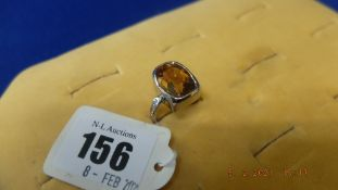 An 18ct white gold, Citrine and diamond ring, approx.