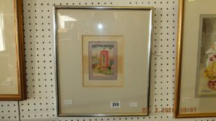 A framed watercolour 'Telephone box' by Robert Barts,