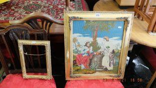 A religious gilt framed tapestry and frame