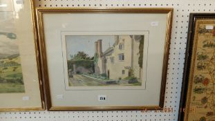 A framed watercolour, Country House, signed D Nash Manor,