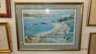 A framed and glazed print, Cornish harbour,