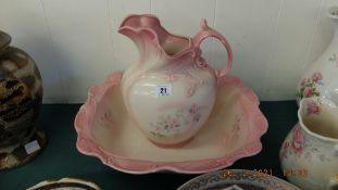 A Victorian jug and bowl
