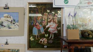 A framed and glazed, Alice in wonderland,