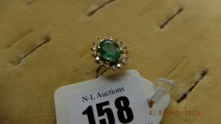 18ct Gold Diamond and Emerald ring, approx.