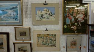 Two unframed watercolours by Veronica Burleigh