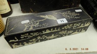 A Black ebonised and mother of pearl jewellery box