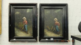 A pair of oil canvases 'Cricketers' by Ferruccro Vitale,