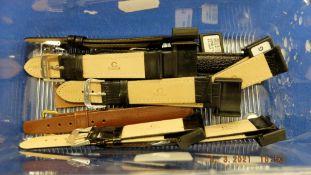 Ten unused leather watch straps