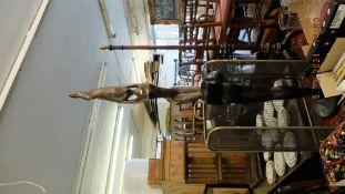 A bronze figure of a ballet couple