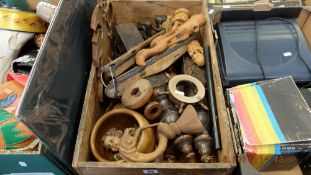 A box of assorted wooden items