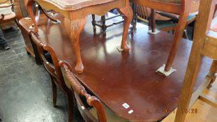 A regency style table, six chairs,