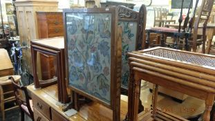 Two oak tapestry fire screens