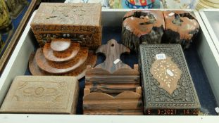 A qty of wooden items inc. bookends etc.
