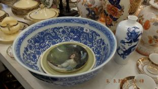 A large blue and white bowl,