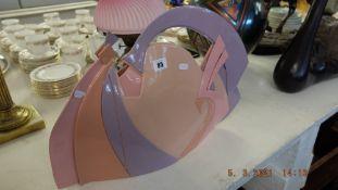 An art glass purple/ pink sculpture, art deco style,