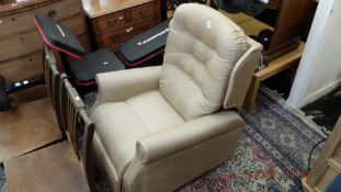 An electric upholstered armchair