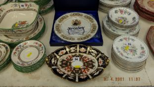 An Aynsley cake plate and a Crown Derby bowl