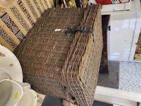 An old wicker trunk