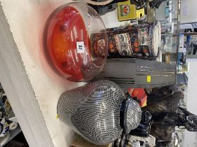 A Gray vase and a Red glass bowl